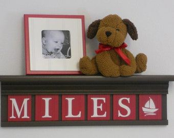 """NAUTICAL Decorating with Shelves Red Nursery Personalized for MILES with Sailboat on 24"""" Brown Shelf 6 Wooden Letters"""