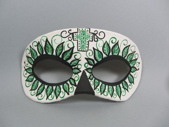 Day of the Dead Green Leafy Leather Masquerade Mask, Unisex