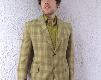 60s Men'sSouthern  Plaid Check Blazer Sportcoat Jacket medium