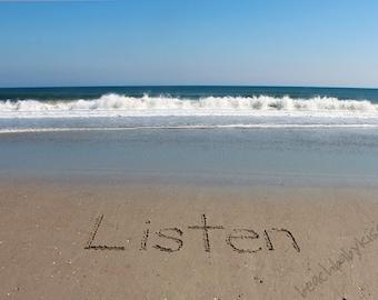 LISTEN - My One Word - Sand Writing Print