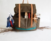 The SHELTER Wildcrafting Bag for Villagers // Waxed Canvas, Vegetable Tanned Leather, and Emerald Teal Canvas
