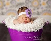 Baby Flower Headband- Lavender Ruffled Chiffon Flower with Rhinestone and Pearl Center on White Elastic Band
