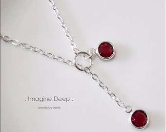 40% off SPECIAL Red Lariat Necklace Y Necklace Silver Plated Ruby Like Swarovski Crystal Necklace