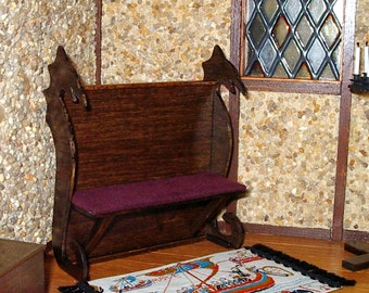 Dragon Bench, Medieval Dollhouse Miniature 1/12 Scale, Hand Made in the USA