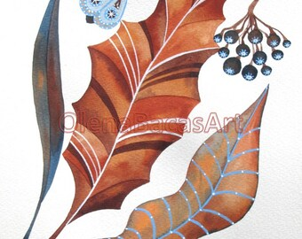 "ORIGINAL Watercolor Painting -Autumn- Rustic -Botanical Illustration Art 8""x10"" SALE by Olena Baca Wall Art- Fall Decor- Autumn Art Gift For"