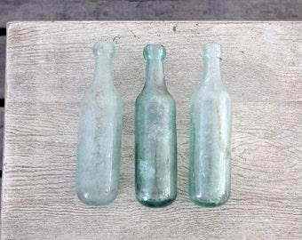 1800s round bottom bottle collection, set of 3 antique soda bottles