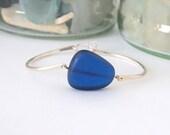 Seaglass Silver Bangle Bracelet, Cobalt Blue Sea Glass
