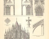1903 Cologne Cathedral, Hohe Domkirche St Peter und Maria Original Antique Engraving