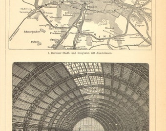 1903 Train and Railway Routes in Berlin at the end of the 19th Century Original Antique Engraving