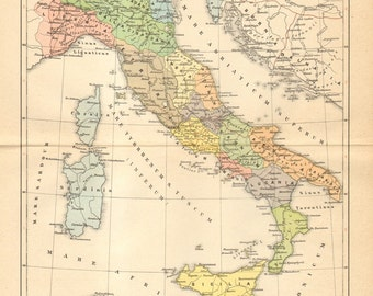 1895 Original Antique Map of Italy at the Age of Emperor Augustus