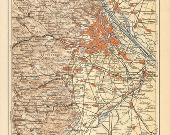 1889 Original Antique Dated Map of Vienna and its Surroundings