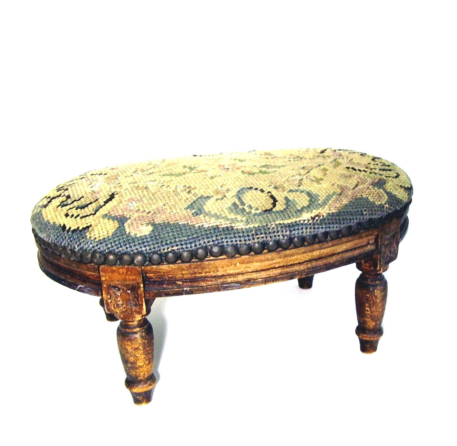 Antique Foot Stool 19th C Petite Louis Xvi Needlepoint