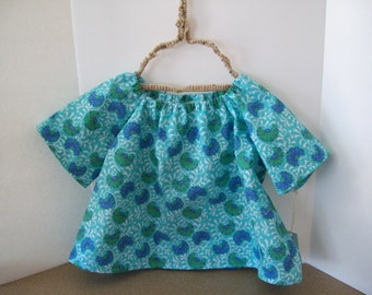 Peasant Blouse, Aqua Floral Print, Toddler Size 2T, Ready to Ship, Clearance Sale