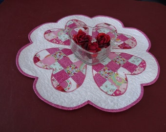 Quilted Valentine Table Topper ready to ship