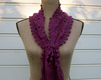 Pattern PDF for Crochet Spiderweb Scarf, Edging as you go, Fringed, Optional Band, Berry DK yarn, one skein