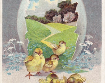 Easter Greetings- 1910s Antique Postcard- Baby Chicks- Edwardian Easter Decor- Spring Chicks- Paper Ephemera