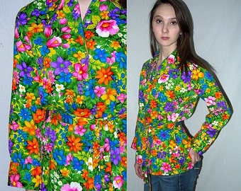 Age of Aquarius .. vintage 60s 70s blouse / 1960s 1970s button up shirt / neon floral flower power / boho hippie indie hipster ... S M