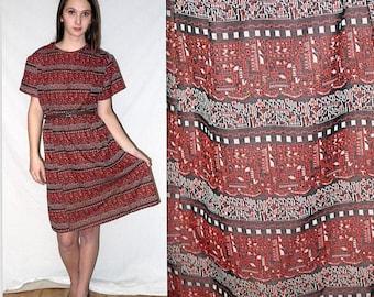 Charlene Brown .. Vintage 60s mod dress / 1960s geometric abstract ethnic / mad men secretary / stewardess .. XL XXL plus 2XL