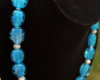 Handmade Aqua Blue Turquoise Lampwork Necklace Sterling Silver Accents