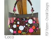 "Purse PDF pattern Handbag sewing tutorial via INSTANT DOWNLOAD - ""Coco"", handmade floral handbag, tote or shoulder bag"