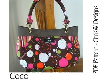 "Purse PDF pattern Handbag sewing tutorial via INSTANT DOWNLOAD - ""Coco"", handmade floral handbag, tote or shoulder bag"