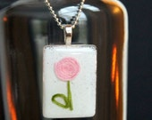 Pink Flower Design on  Glass Pendant Charm-Mothers Day