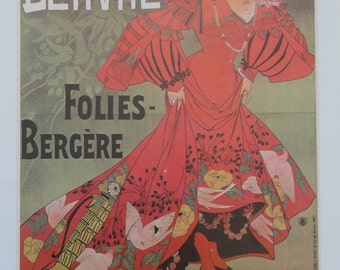 Vintage Poster Art, Paris Cabaret Music Hall Poster, Dancer in Oriental Costume, Red Head Singer, Printed in USA in 1977