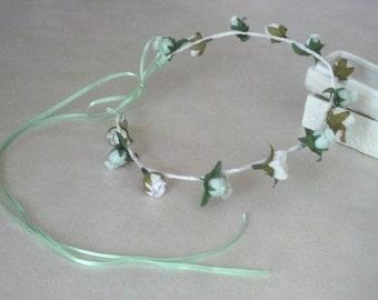 Bridal Hair accessories Mint Green Flower Crown Shabby chic wedding headpiece flower girl halo Music festivals hippie boho Made In Michigan