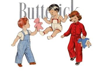 1950s Toddlers Sunsuit Pattern Butterick 6176 Breast 23 Bib Overalls Playsuit Romper Raglan Sleeve Jackets Childrens Vintage Sewing Patterns