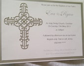 Custom order for Jaclyne -Luxury modern Baptism  Invitations, with a soft ornate cross embellishment, and swarovki crystals.