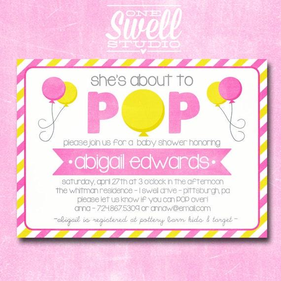 Ready to Pop Baby Shower Invitation- Cute Popcorn ...