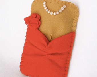 Red Dress Phone Case,  Felt Red Dress And Pearls,  iPhone,  Android, Lady In Red