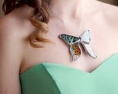 Madagascan Sunset Moth on Sterling Silver Chain
