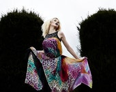 Silk Chiffon Dress in Rainbow Leopard Print w Asymmetrical Cut and Studded Leather Top, Red Carpet Couture, by LENA QUIST