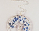 Tree of Life Pendant / Necklace - Snowy White and Blue