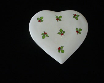 Vintage Ceramic Heart Shaped Box Holly Designs Cuthbertson Heart Box Made In England Gifts for Her YourFineHouse AffordableVintage