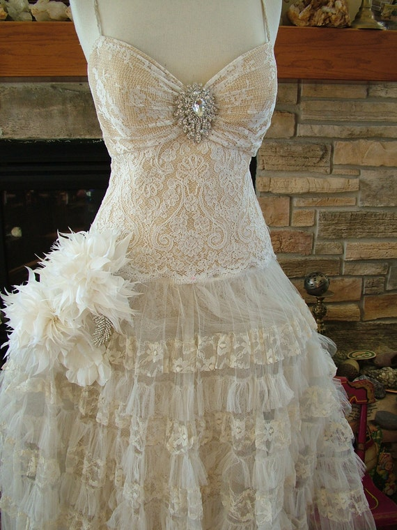 wedding dress princess ballgown antique lace fantasy fairy