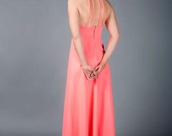 Vintage Coral Halter Dress, Maxi Dress, Boho Glam 1970s Dress