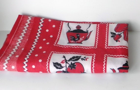 Vintage Tablecloth and Napkins Red with White Polka Dots Roosters Peppers and Teapots