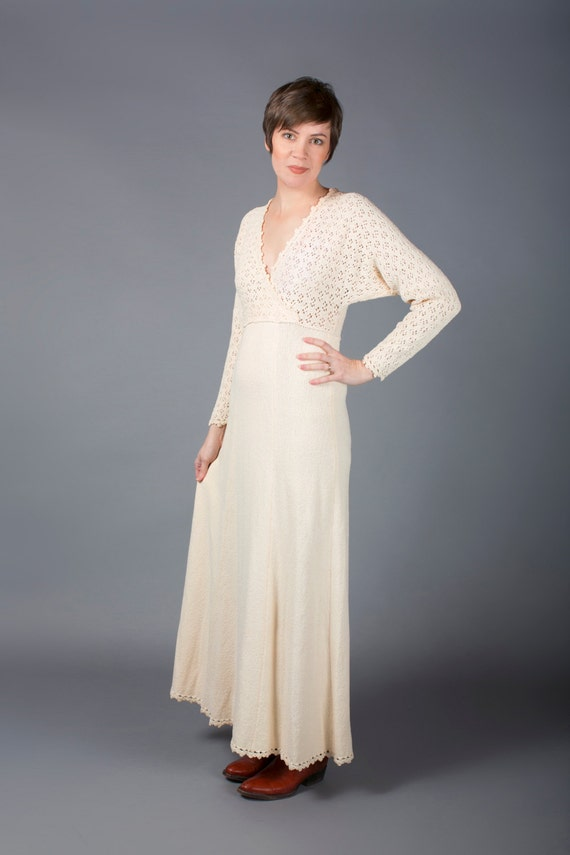 Knit Maxi Dress, Boho Long Cream Dress, Picardo Knits, Wrap Bodice