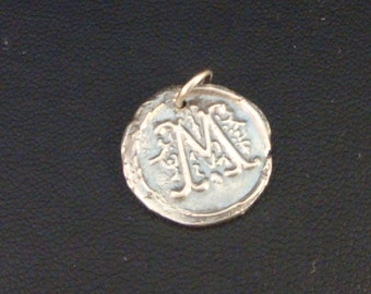 Add a Charm, Double Sided Fine Silver Wax Seal Monogram Pendant, Letter M