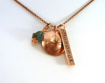 Respect UU Chalice Necklace in Copper or Brass | Unitarian Universalist Necklace | Copper UU Necklace