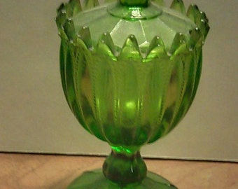 Vintage Emerald Green Glass Pedestal Jelly Dish