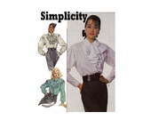 Steampunk fashion uncut sewing pattern Jabot ruffle front Blouse Sizes 6 & 8 from 1987 Gothic style Simplicity 8179