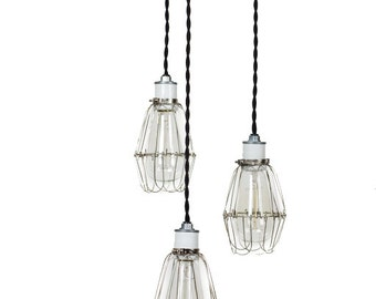 Modern Industrial Porcelain Socket Silver Caged 3 Light Chandelier