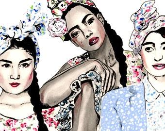 "SALE! Floral Friends Colourful Fashion Art - Limited Edition Archival Fashion Print - A4 (8.3 x 11.7"")"
