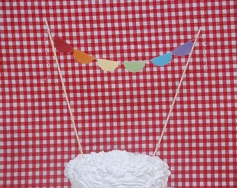 Rainbow Cake Topper, Rainbow Bunting Cake Topper