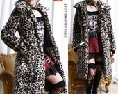 Hollywood Rock Diva Faux Fur Long Coat Leopard Cheetah