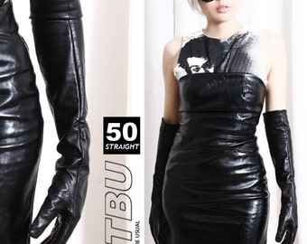 50cm Over Elbow Genuine Real Leather Runway Fashion Gothic Fetish Pinup Skinny Gloves