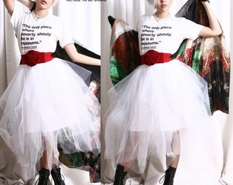 Bridal Lolita Puffy Ballerina Irregular Translucent TuTu Mesh Tulle Calf Skirt